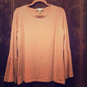 Calvin Klein Blush and Gold Bell Sleeve Sweater